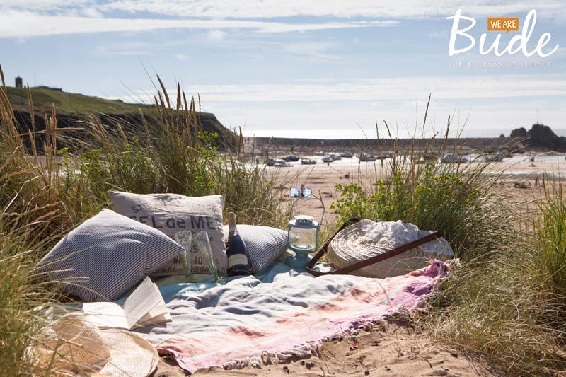Picnic sand dunes Summerleaze Beach Breakwater Bude Cornwall